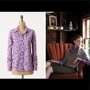 Odille Tarpan Purple Horse Button Down Shirt